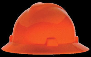 MSA Hi-Viz Orange V-Gard Class E, G Type I Polyethylene Non-Slotted Hard Hat With Staz-On Suspension