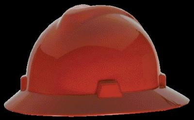 MSA Red V-Gard Class E, G Type I Polyethylene Non-Slotted Hard Hat With Fas-Trac Suspension