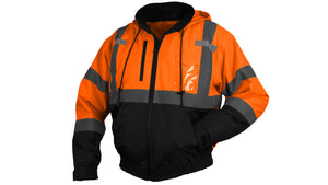 Pyramex Hi-Vis Orange Class 3 Insulated Safety Bomber Reflective Jacket