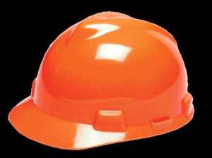 MSA Hi-Viz Orange V-Gard Class E, G Type I Polyethylene Standard Slotted Hard Cap With Fas-Trac Suspension