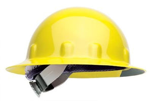 Fibre-Metal Yellow SUPEREIGHT Class E, G or C Type I Thermoplastic Hard Hat With Full Brim And 3-R Ratchet Suspension