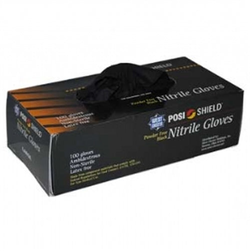 Black Nitrile Gloves Powder Free 100/bx Large