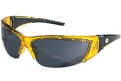 Crews Glasses ForceFlex® 2, Translucent Yellow, Black rubber, gray lens
