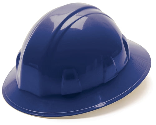 Hard Hat Full Brim Style 4 Point Ratchet Suspension Blue