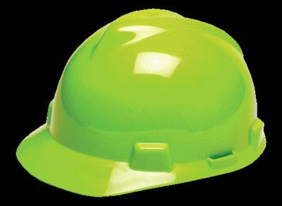 MSA Hi-Viz Yellow-Green V-Gard Class E, G Type I Polyethylene Standard Slotted Hard Cap With 1-Touch Suspension