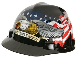 MSA American Eagle V-Gard Freedom Series Class E Type I Hard Cap With Fas-Trac Suspension And Eagle, United States Of America And Flowing U.S. Flags On Front