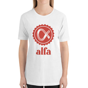 Alfa Bella+Canvas 3001 Unisex T-Shirt Front Womens White