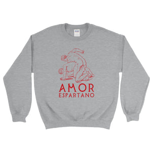 Amor Epartano Gildan 18000 Heavy Blend Crewneck Sweatshirt Red on Sport Grey Heather Front Flat
