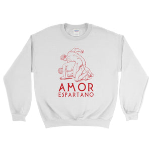 Amor Epartano Gildan 18000 Heavy Blend Crewneck Sweatshirt Red on White Front Flat