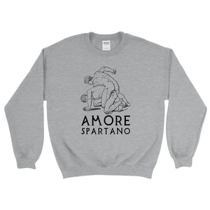 Amore Spartano Gildan 18000 Heavy Blend Crewneck Sweatshirt Black on Sport Grey Heather Front Flat
