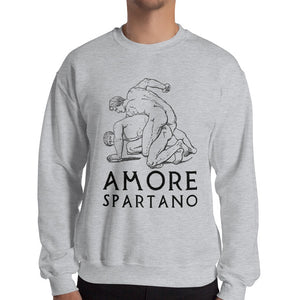 Amore Spartano Gildan 18000 Heavy Blend Crewneck Sweatshirt Black on Sport Grey Heather Men Front