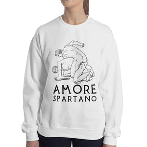 Amore Spartano Gildan 18000 Heavy Blend Crewneck Sweatshirt Black on White Lady Front