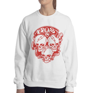 Bros 18000 Heavy Blend Crewneck Sweatshirt White Front Lady