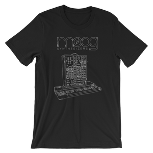 Moog Synthesizers Model 15 Bella+Canvas 3001 Unisex T-Shirt Front Mens Black