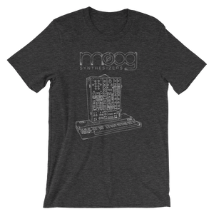 Moog Synthesizers Model 15 Bella+Canvas 3001 Unisex T-Shirt Front Mens Dark Grey Heather