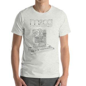 Moog Synthesizers Model 15 Bella+Canvas 3001 Unisex T-Shirt Front Mens Ash