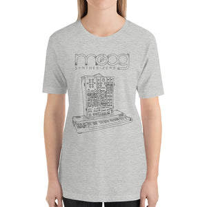 Moog Synthesizers Model 15 Bella+Canvas 3001 Unisex T-Shirt Front Womens Athletic Heather