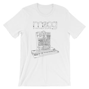 Moog Synthesizers Model 15 Bella+Canvas 3001 Unisex T-Shirt Front Wrinkled White