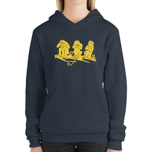 Serie gialla Bella+Canvas 3719 Unisex Fleece Pullover Hoodie Front Womens Heather Navy