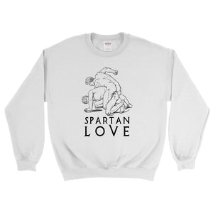 Spartan Love Gildan 18000 Heavy Blend Crewneck Sweatshirt Black on White Front Flat