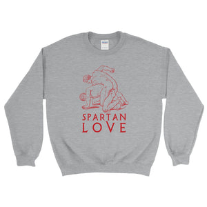 Spartan Love Gildan 18000 Heavy Blend Crewneck Sweatshirt Red on Sport Grey Heather Front Flat