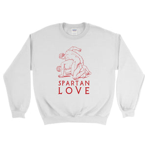 Spartan Love Gildan 18000 Heavy Blend Crewneck Sweatshirt Red on White Front Flat