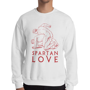 Spartan Love Gildan 18000 Heavy Blend Crewneck Sweatshirt Red on White Men Front