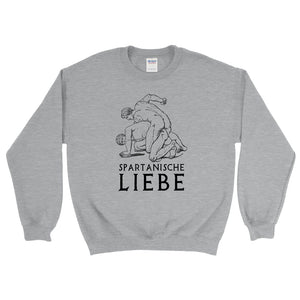 Spartanische Liebe Gildan 18000 Heavy Blend Crewneck Sweatshirt Black on Sport Grey Heather Front Flat
