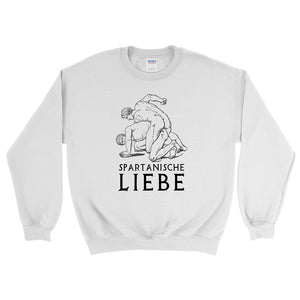 Spartanische Liebe Gildan 18000 Heavy Blend Crewneck Sweatshirt Black on White Front Flat