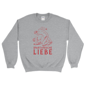 Spartanische Liebe Gildan 18000 Heavy Blend Crewneck Sweatshirt Red on Sport Grey Heather Front Flat