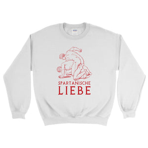 Spartanische Liebe Gildan 18000 Heavy Blend Crewneck Sweatshirt Red on White Front Flat