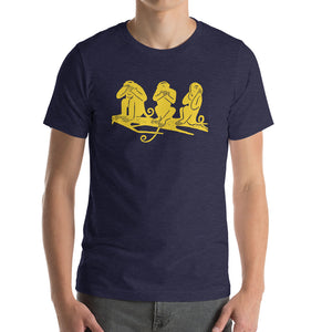 three wise monkeys Bella+Canvas 3001 Unisex T-Shirt Front Mens Heather Midnight Navy