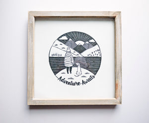 Adventure Awaits Original Lino Print