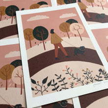 autumn walk pug print