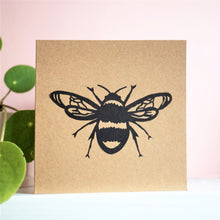 Bee lino print card