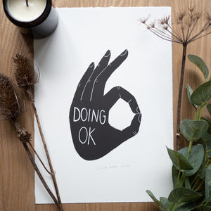 Doing ok lino print