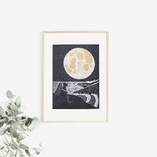 full moon lino print