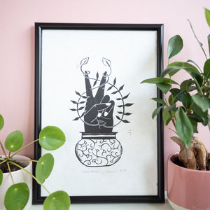 Grow Peace Lino Print