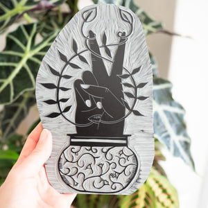 Grow Peace Lino Print block