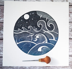 Guided by the Stars Original Lino Print
