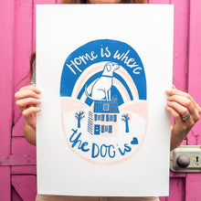 home is where the dog is A3 lino print