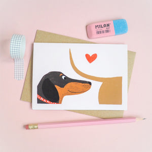 Sausage dog love at first sniff card