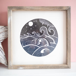 guided by the stars nautical octopus lino print