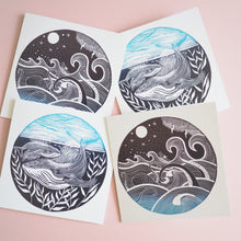 set of 2 nautical lino print cards