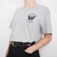 only here for the snacks grey pug t-shirt pocket print