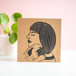 pug hug pug mama lino print greetings card