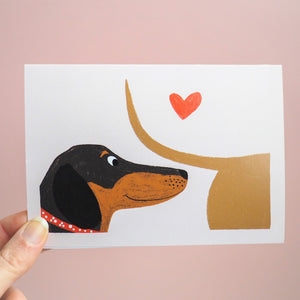 Love sniff sausage dog card