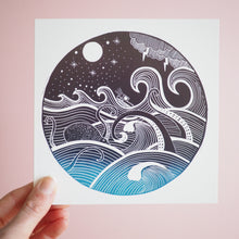 Stormy sea lino print card