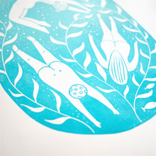 wild swimming lino print close up