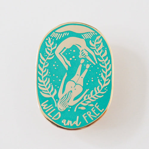 wild swimmers enamel pin